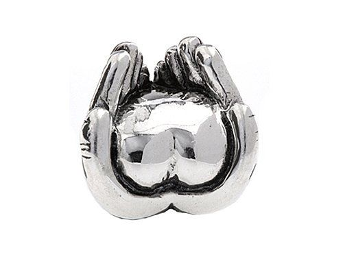 SilveRado(tm) MS254 Sterling Silver Heart in Hand Bead / Charm crafted in 925 Sterling Silver Dimensions: Height: 11.30 mm Width: 11.50 mm Length: 7.90 mm. Finejewelers Style Number: MS254.