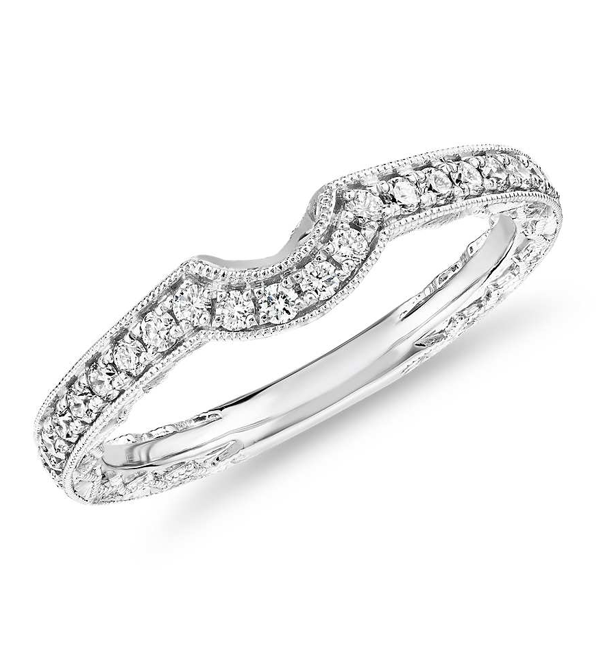 Curved Diamond and Milgrain Engraved Profile Wedding Ring