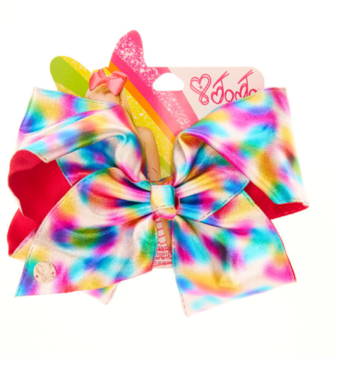 Add A Splash Of Color To Your Look With This Fun Jojo Signature Hair Bow The Metallic Silver Bow Features A Rainbow Waterco Jojo Bows Jojo Siwa Bows Jojo Siwa