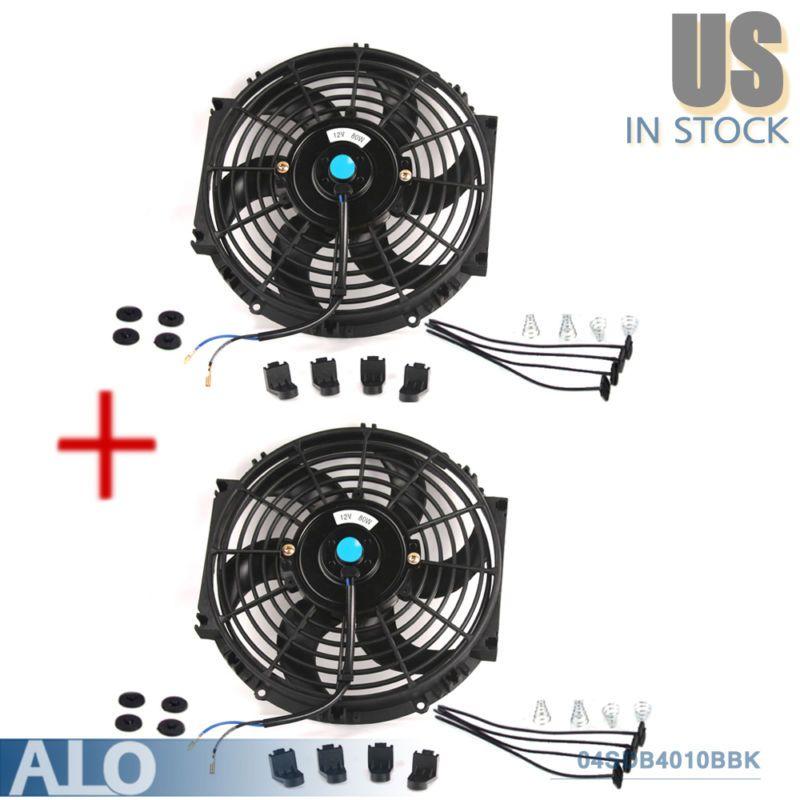2x 10 Inch Universal Slim Fan Push Pull Electric Radiator Cooling 12v Mount Kit Radiator Cooling Mount Electric P Electric Radiators Cool Stuff Radiators