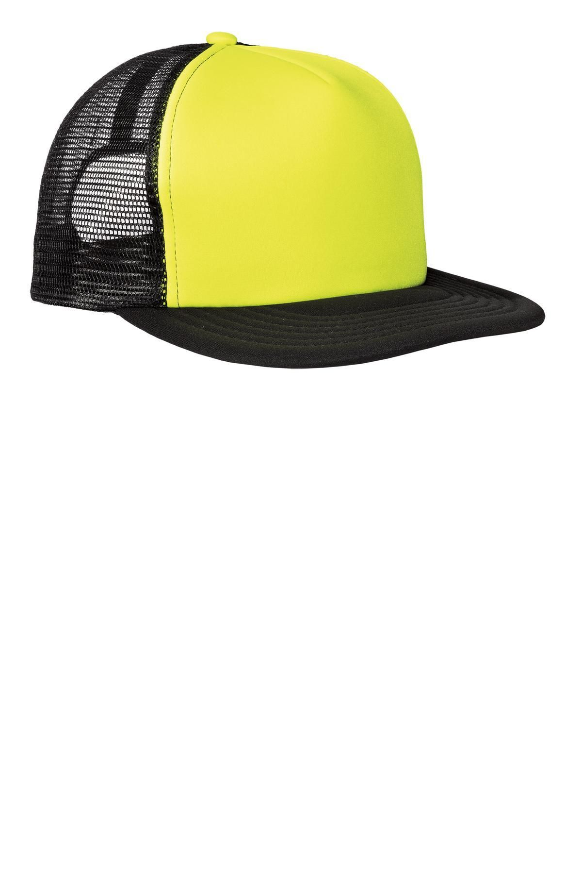 c2066230 District - Flat Bill Snapback Trucker Cap DT624 Neon Yellow in 2019 ...