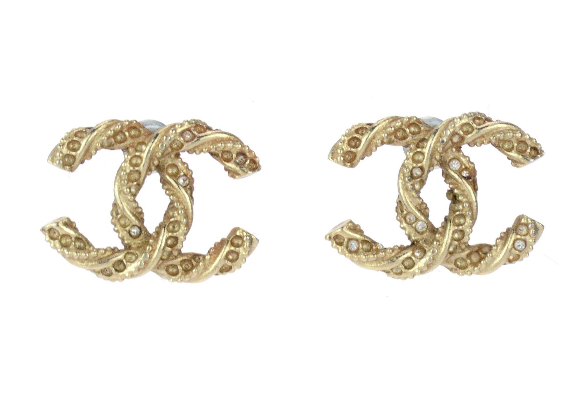 Chanel Gold Twisted CC Logo Earrings Twist jewelry