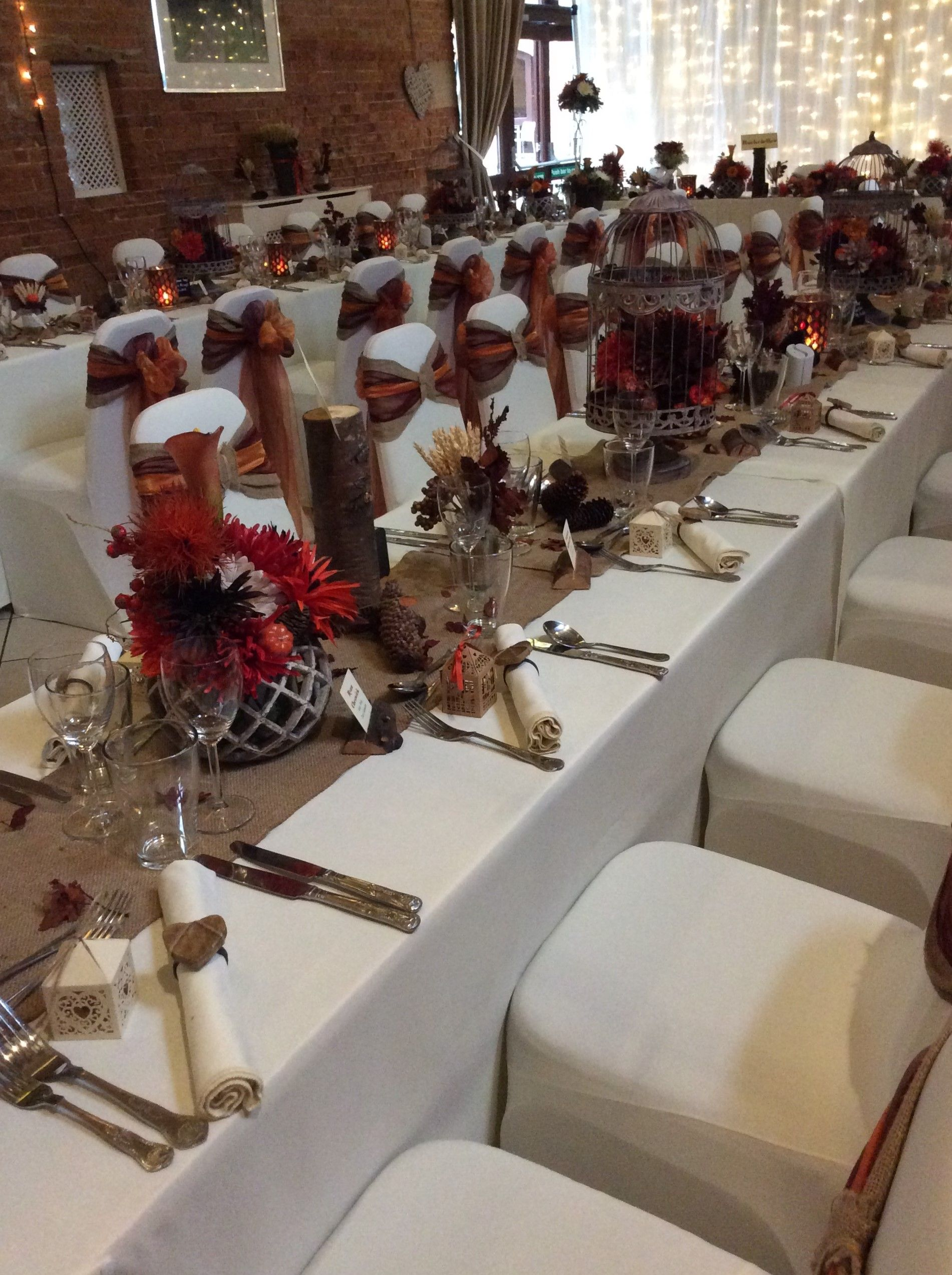 Banquet Style Wedding Breakfast Tables With Stunning Autumnal Decor Www Elshamhallevents Co