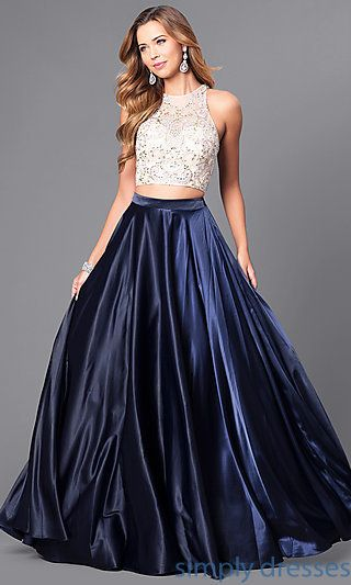 c4ea24dfb16a01 Shop two-piece prom dresses with beaded bodices at Simply Dresses. Long formal  dresses under  200 with illusion crop tops and long satin skirts.
