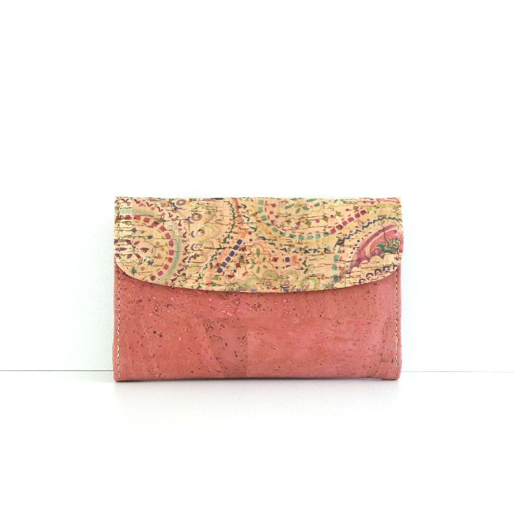 Trendy Portemonnee.Wallet Pink Trendy Portemonnee Van Kurk Met Beschildering Fair