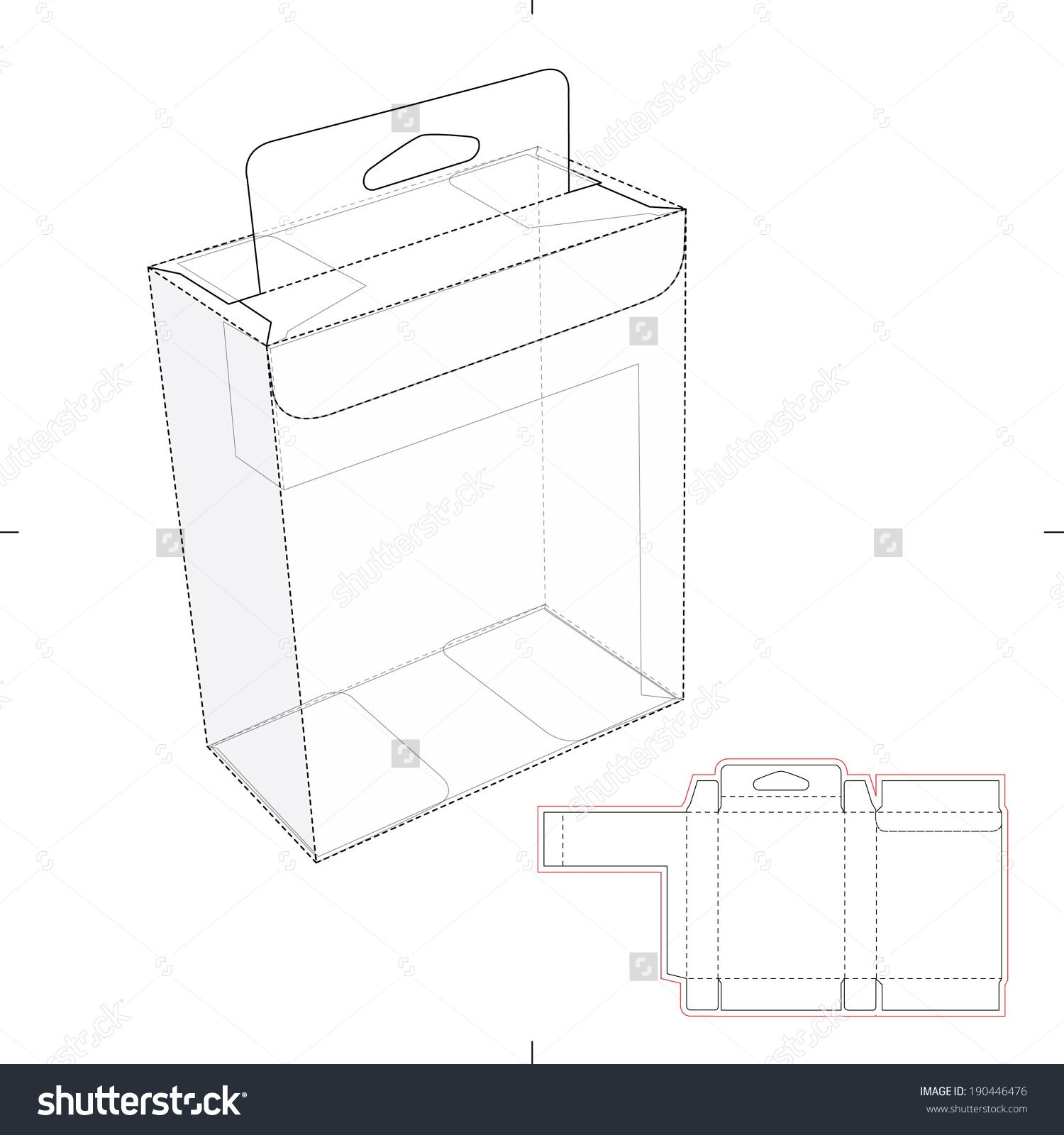 Box With Shelf Hanging Holes And Die Cut Layout Stock Vector Illustration 190446476 : Shutterstock