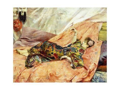 size: 16x12in Giclee Print: Porträt von Sarah Bernhardt in einem chinesischen Interieur by Georges Rochegrosse :