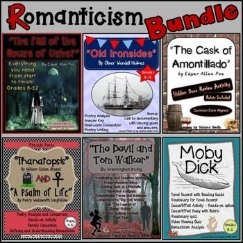 """Romanticism Bundle - """"The Fall of the House of Usher,"""" """"Old Ironsides,"""" """"The Cask of Amontillado,"""" """"Thanatopsis,"""" """"Psalm of Life,"""" """"The Devil Dick Movie"""
