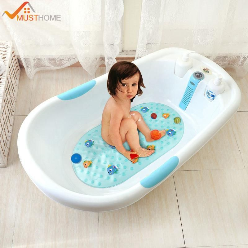 39cmx69cm Cartoon Fish Non Slip Child Bathtub Mat Pvc Bathroom Shower Mat With Suckers Bathtub Mat Bathroom Shower Mat Shower Mat