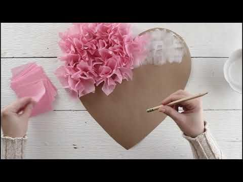 Tissue Paper Puffy Heart Valentine's Window Decoration - DIY Papercraft