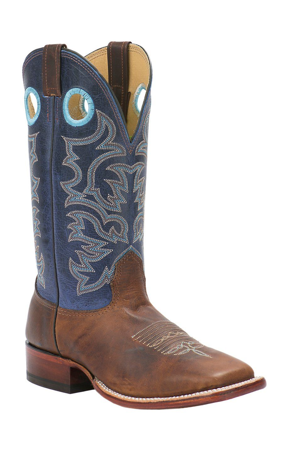 bb1bde9e4c6 Cavender s Men s Cognac Brown with Navy Top Double Welt Square Toe Western  Boots