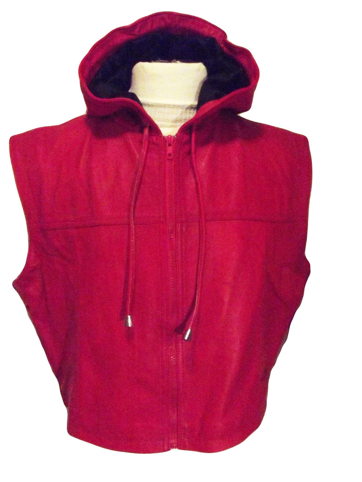 8bf22b8003b859 Mens Red Leather Sleeveless Hooded Hoodie Zip up Custom made Ring Jacket  Wrestling - Boxing
