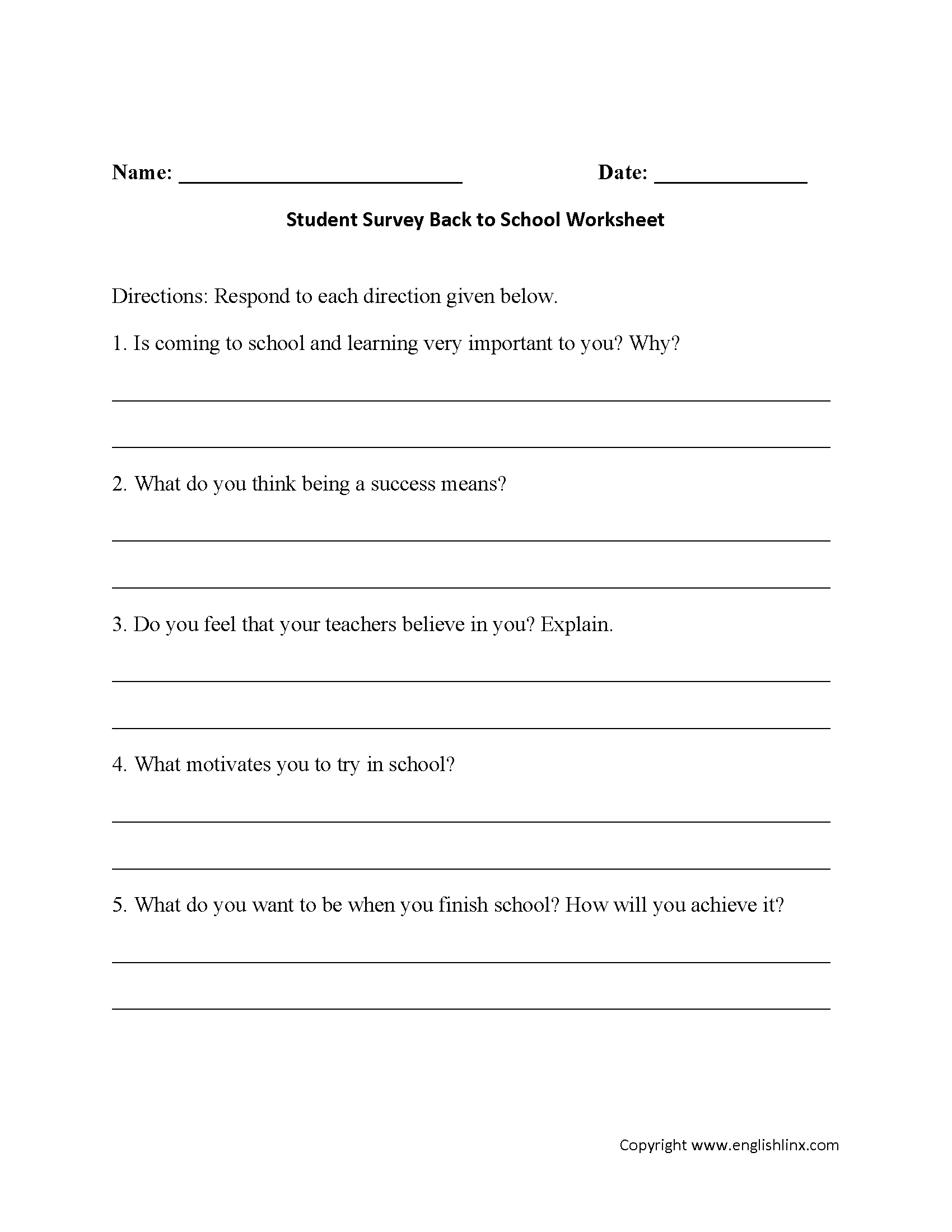 Student Survey Back To School Worksheets With Images