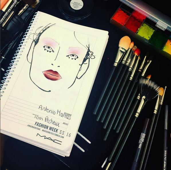 Un close up al #FaceChart creado por @tompecheux para @antoniomarrasofficial , el maquillaje está inspirado en #Armenia y su historia después de la guerra - #BeautyTakeOver #MFW @karjauregui @maccosmetics #InStyleBeauty #TheLook #Fashion #FashionWeek #FWMFW