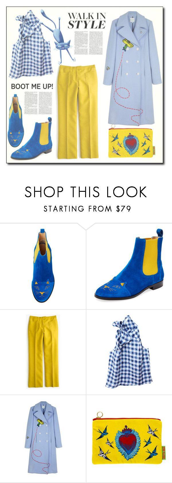 """Kick It: Chelsea Boots"" by dorinela-hamamci ❤ liked on Polyvore featuring Charlotte Olympia, J.Crew, Etrala London, Mira Mikati, Corita Rose, polyvoreeditorial, chelseaboots, polyvorecontest and polyvoreditorial"