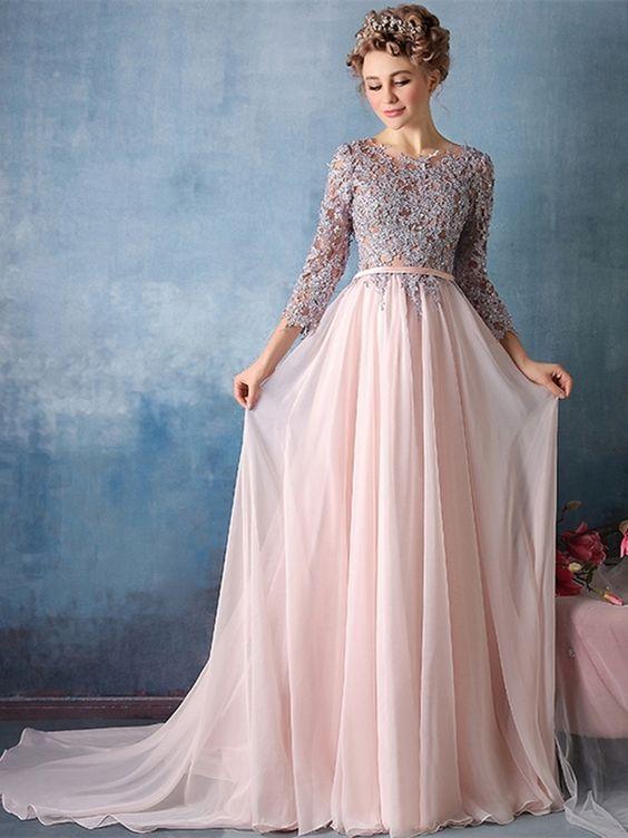 ... Long Elegant Lace Applique Chiffon Evening Dresses With Sleeve Vestido  De Festa Longo Evening Gowns. Exquisite A-Line Scoop 3 4 Length Sleeves  Appliques ... a8c9902e1f67