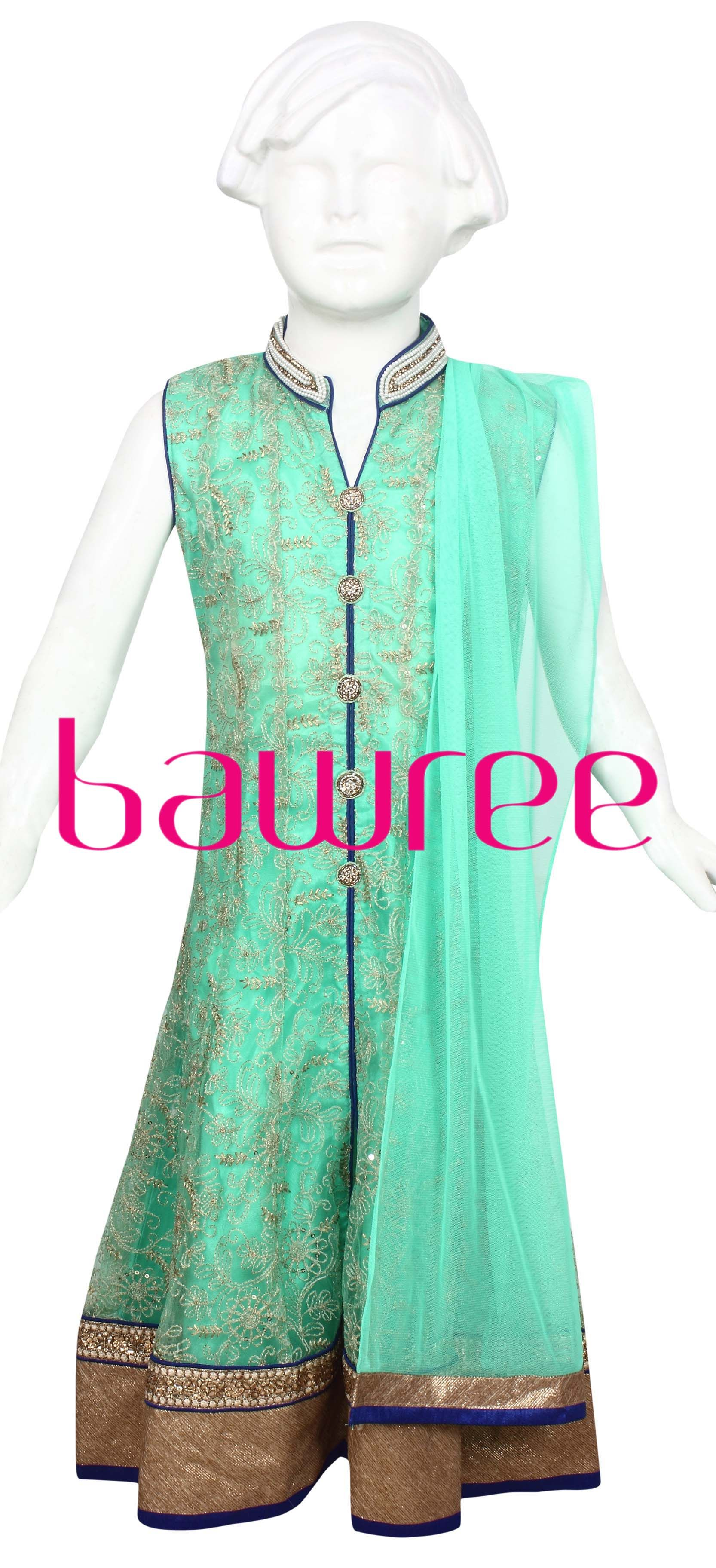 Fresh apple green net lace suit with royal blue colour piping ...