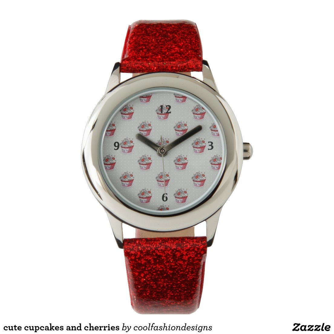 cute cupcakes and cherries wristwatch