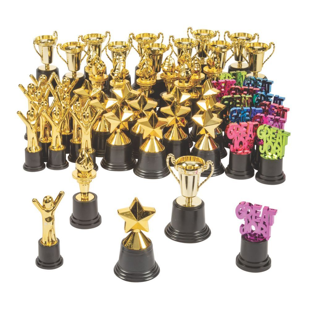 And the award for best event supplies goes to... this bulk trophy assortment! Packed with a variety of metallic trophies, this award assortment can be used for a school award night, field day or a corporate recognition meeting. Keep the trophies on hand for student rewards or employee awards. You never know what a trophy and recognition for a job well done means to someone! Includes 12 Great Job Award Trophies, 12 Goldtone Trophies, 12 Star Trophies, 12 Torch Award Trophies and 12 Victory Trophi