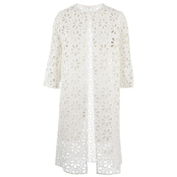 Giambattista Valli flower perforated coat (€3.318) ❤ liked on Polyvore featuring outerwear, coats, white coat, giambattista valli, flower coat, giambattista valli coat and silk coat