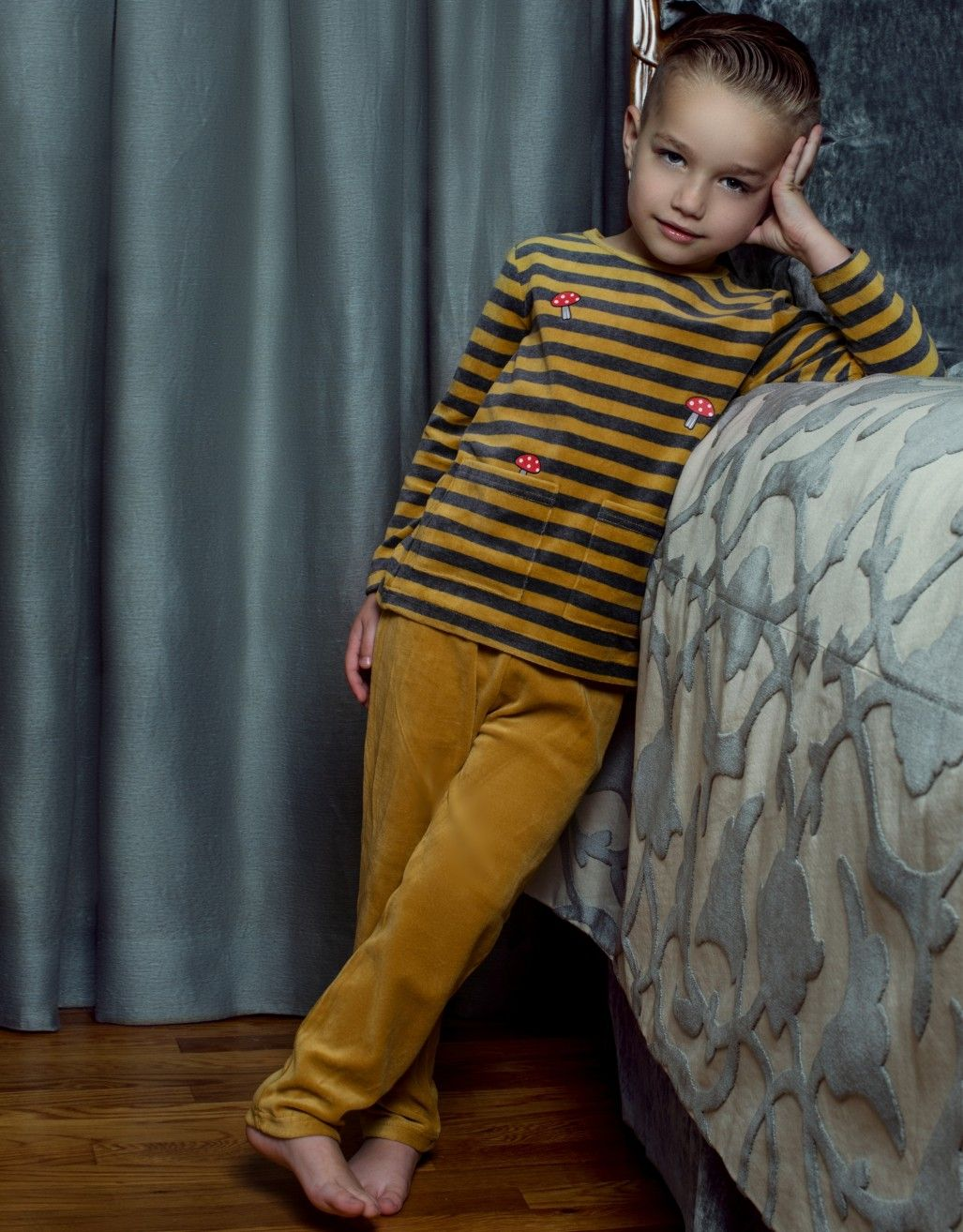 2cdacb180e45 Boys Plush Velour Striped Pajamas Legging Playwear Set