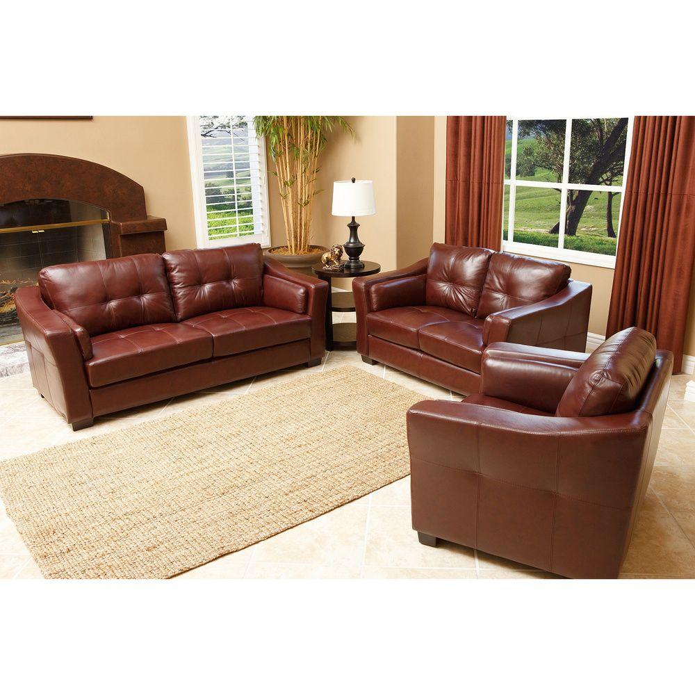 Abbyson Living Torrance Premium Top Grain Leather 3 Piece Room Furniture Set