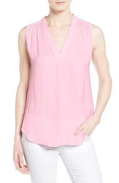 Vince Camuto Shirred Shoulder V-Neck Blouse