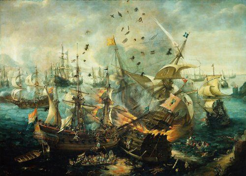 The Explosion Of The Spanish Flagship During The Battle Of Gibraltar 25 April 1607 Ca 1621 By Cornelis Claesz Marine Painting Spanish Armada Marine Artist