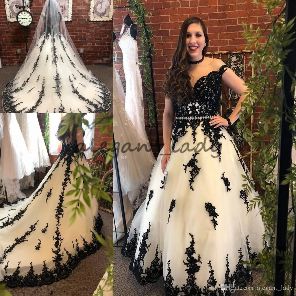 Black and white gothic wedding dresses  BlackWhite gothic Wedding Dresses  Illusion Neck u Back Real