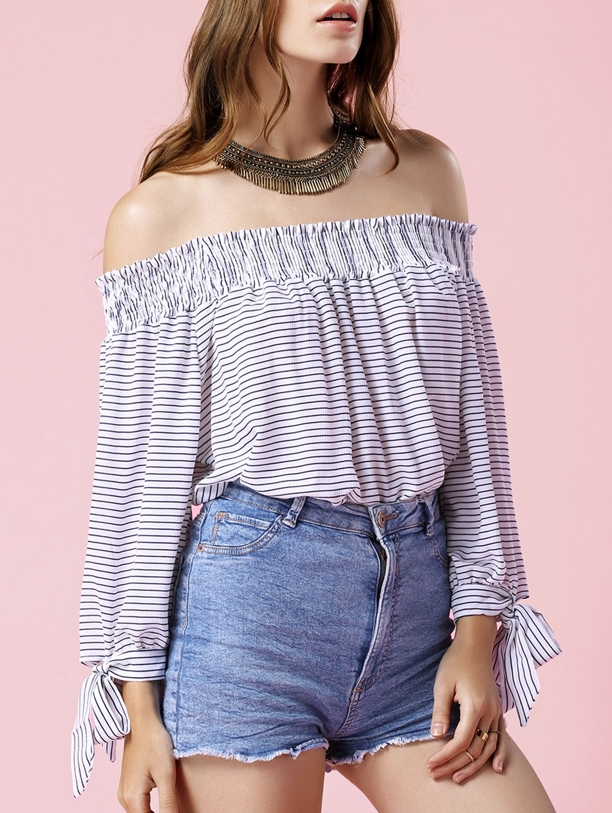 Striped Scoop Neck 3/4 Sleeve Blouse WHITE: Blouses | ZAFUL