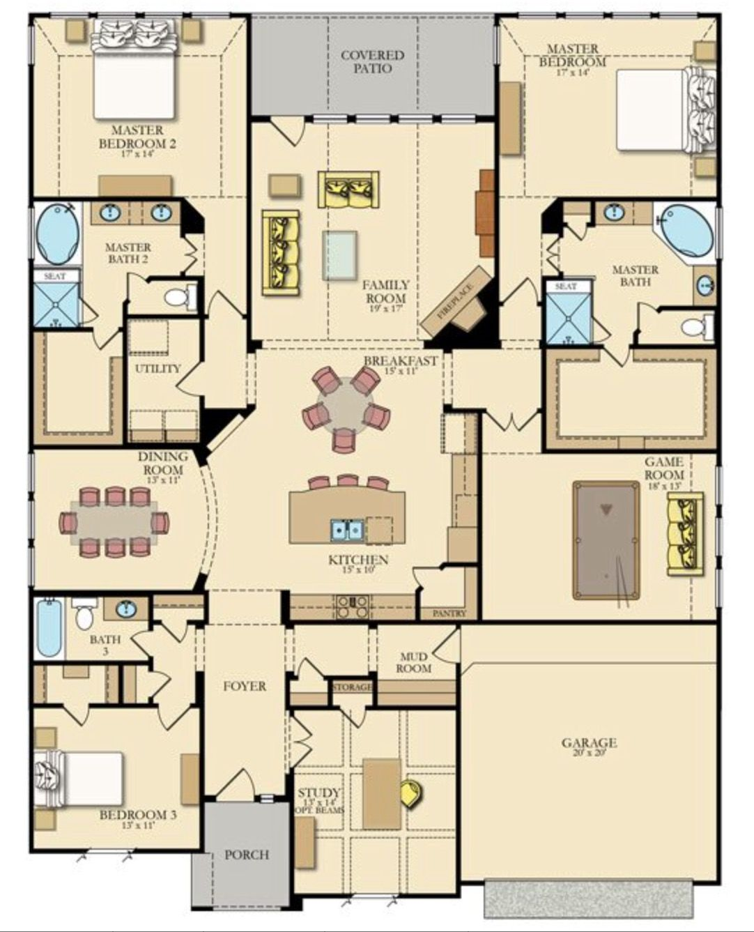 Lennar Diamond Plan 3148 Sq Ft 350 000 2 Master Bedrooms New House Plans House Plans Sims House Design