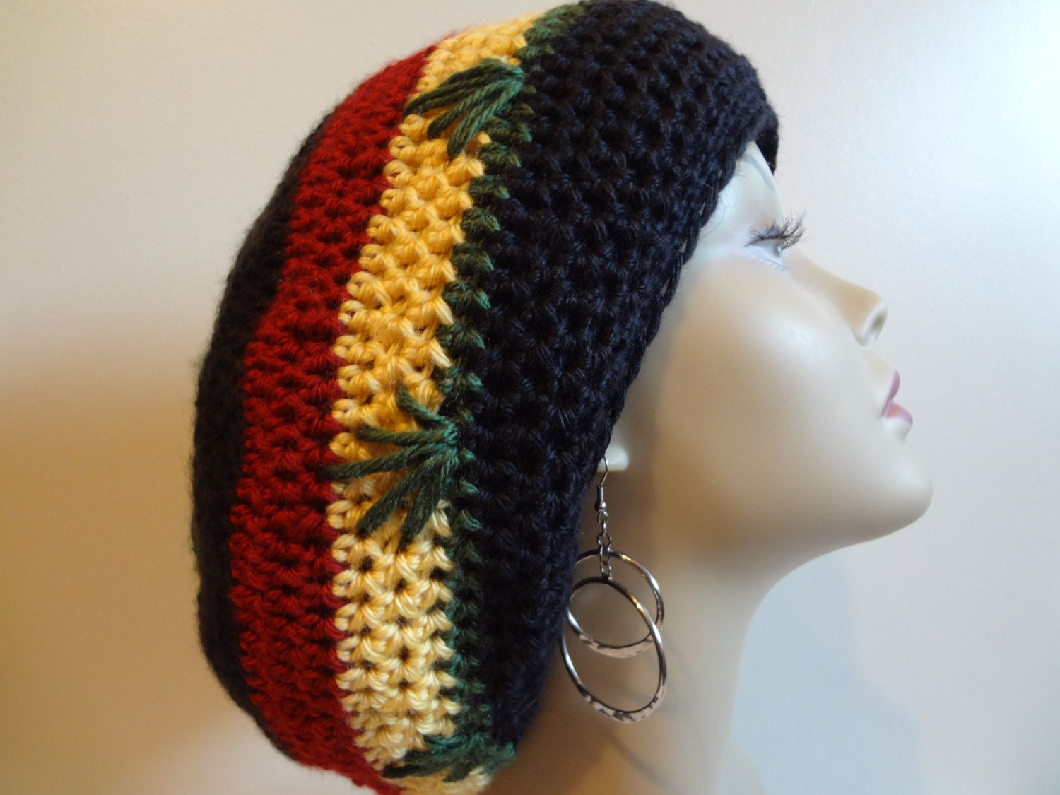 Pot Leaf Rasta Hat Crocheted Bob Marley by TenderLovingCrafts4U ...