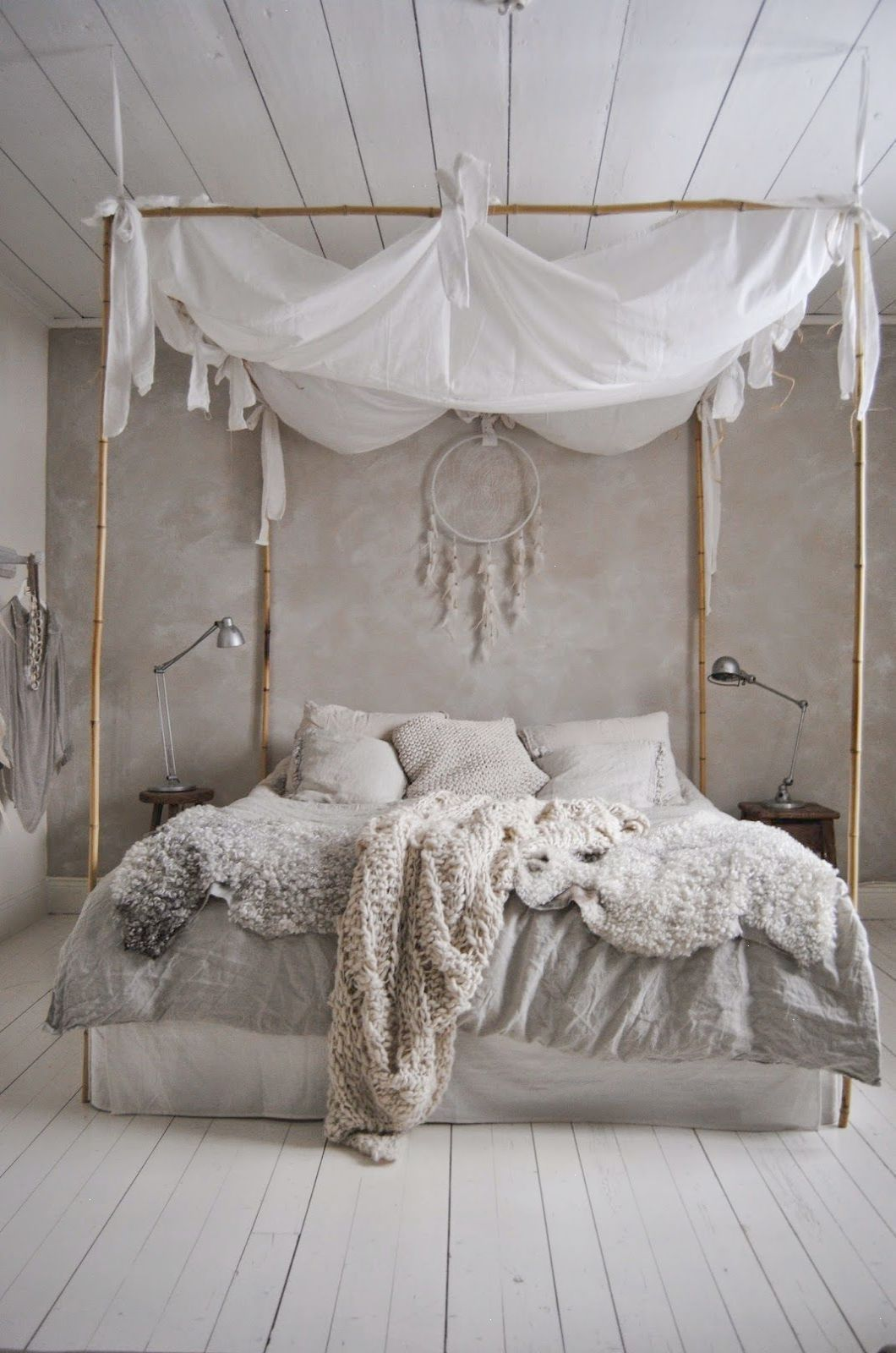 Scandinavia inspired neutral bedroom design with canopy