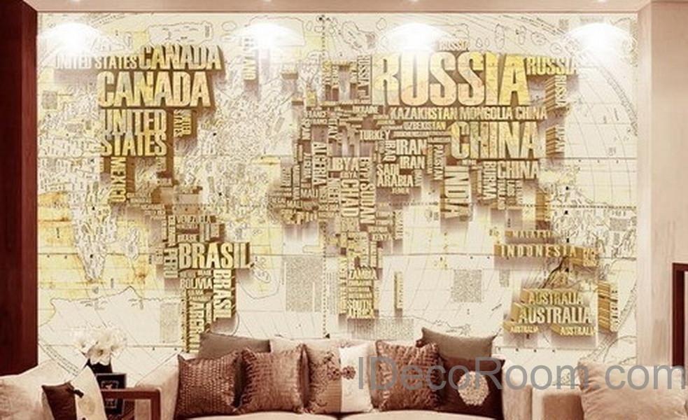 Abstract World Map Nation 3D Wallpaper Wall Decals Wall Art Print ...