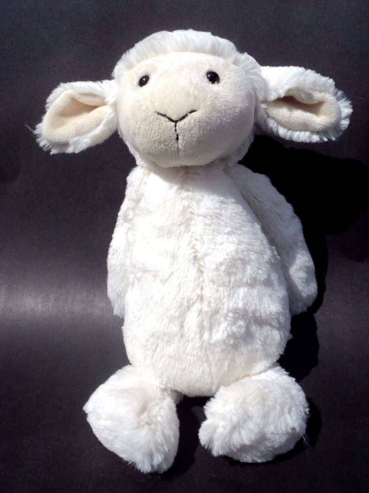 Jellycat Plush White Lamb Sheep Stuffed Animal 12 Tall Cuddly Soft