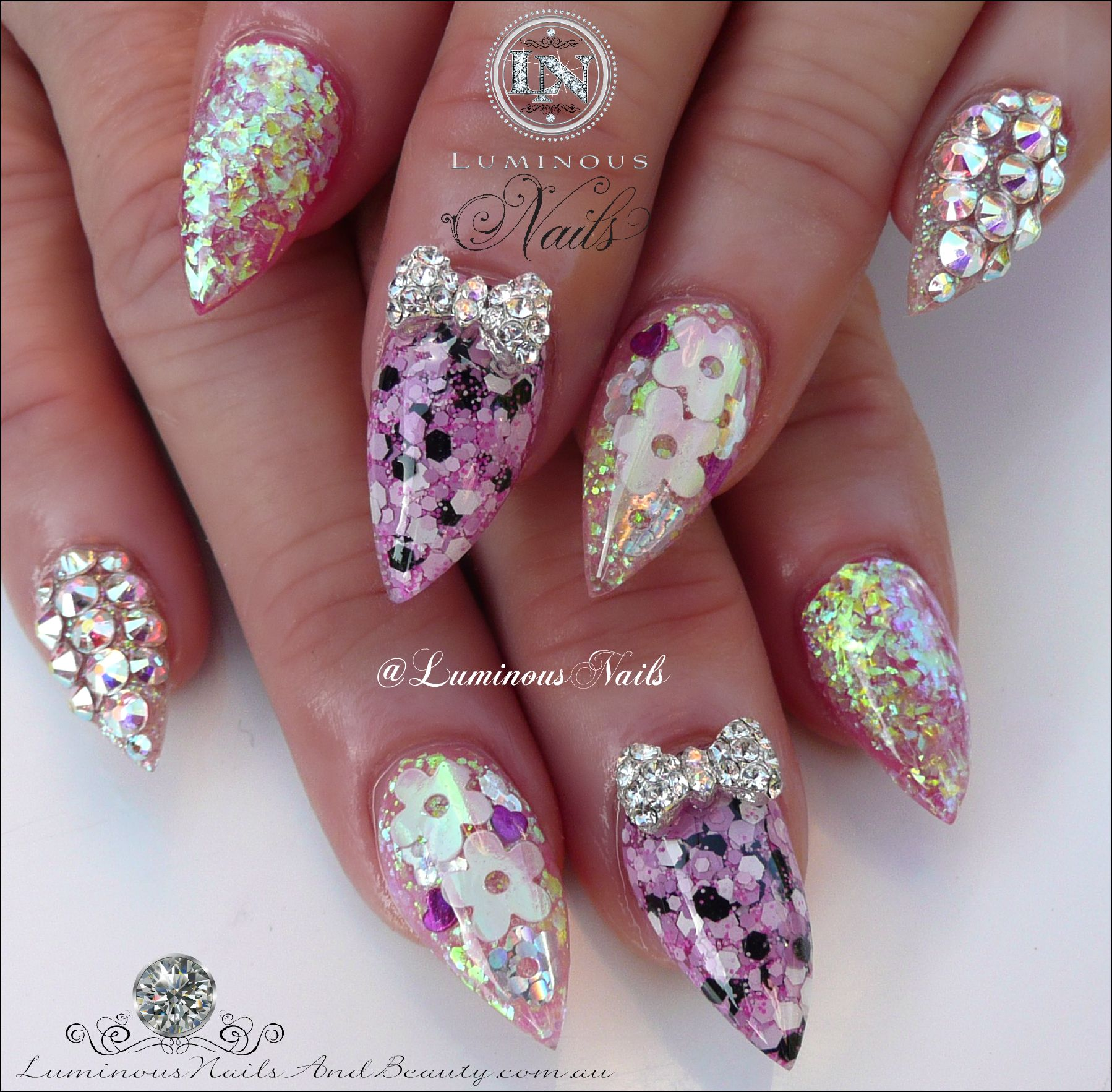 Pretty in Pink Acrylic Nails with Encased Flowers & Confetti ...