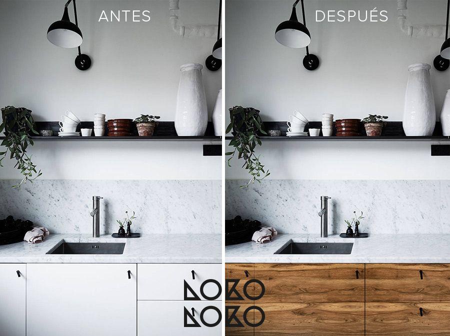 Antes Y Despues 10 Reformas Con Vinilo Madera En Cocinas Blancas Vinilos Para Muebles Cocinas Reformadas Cocina Blanca Y Madera