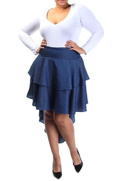 2006f4b60cd Plus Size High Low Ruffled Skirt