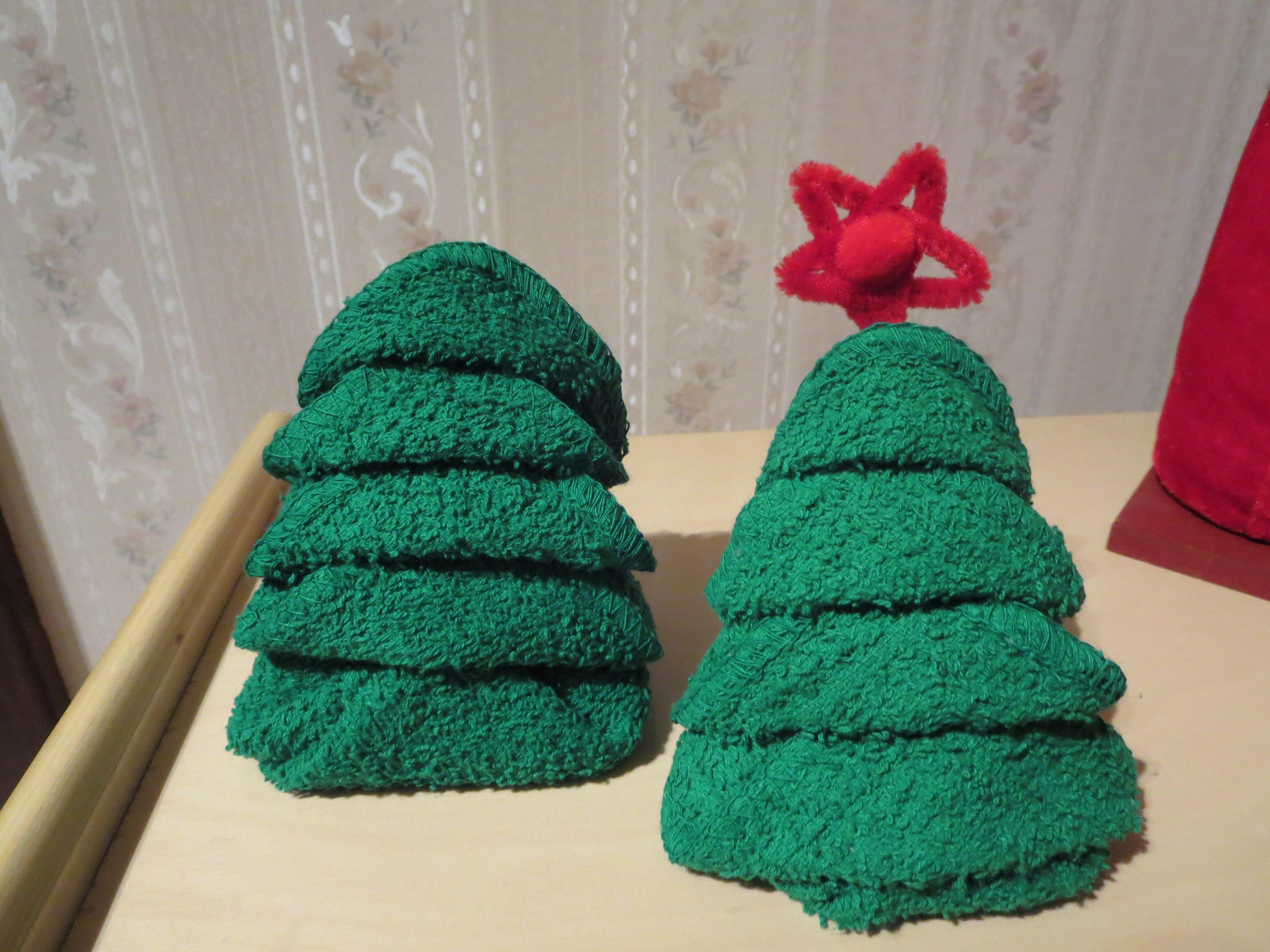 washcloth folding christmas tree hand towel pinterest