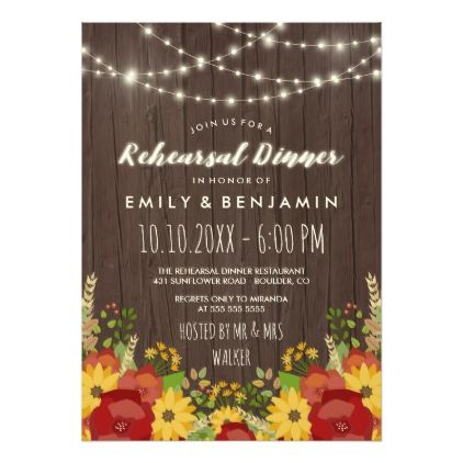 #rustic - #Sunflowers & String Lights Rustic Rehearsal Dinner Card