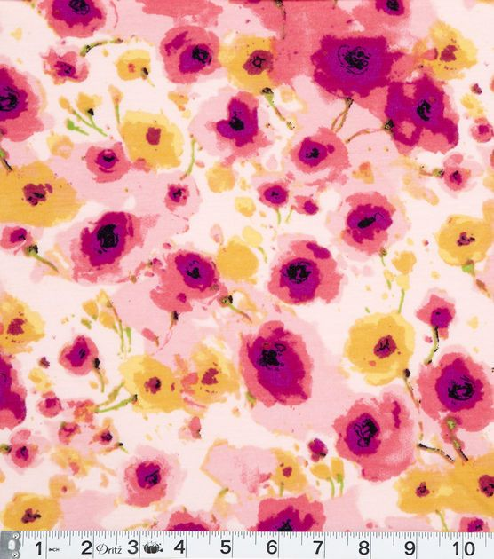 Famous Maker Apparel Fabric Pink Floral Knit Fabric from