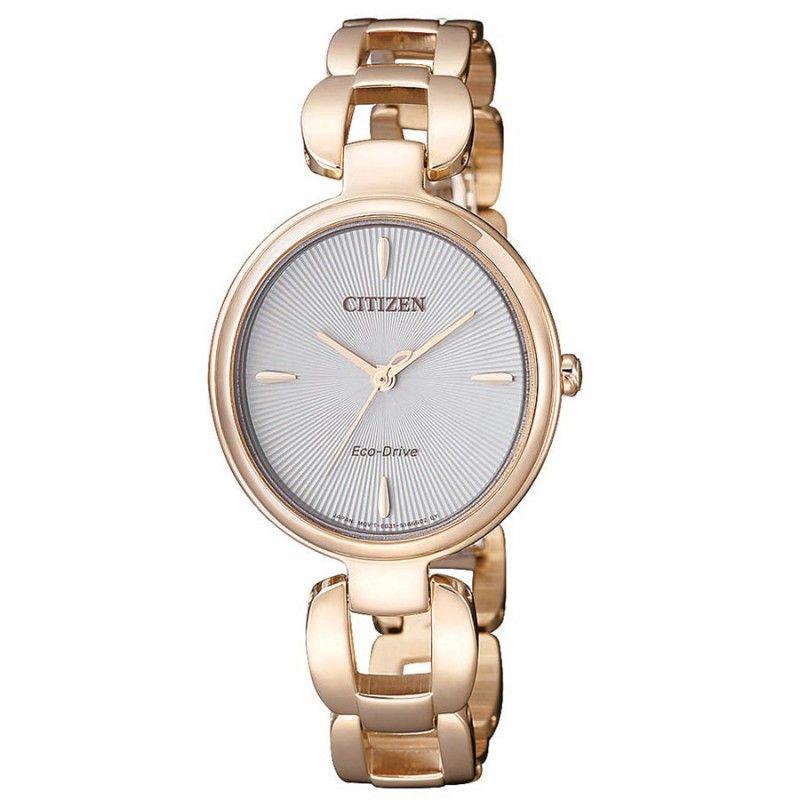 8ccc3da13 Reloj Citizen Eco-Drive Mujer EM0423-81A. Es un reloj Citizen para mujer,  analógico, en acero color oro rosa. Esfera plateada. Colección Citizen Lady  0420.