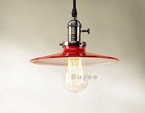 Buyee® Modern Industrial Metal shade Loft Pendant Lamp Retro Ceiling Light Vintage Lamp (Red): Amazon.co.uk: Lighting