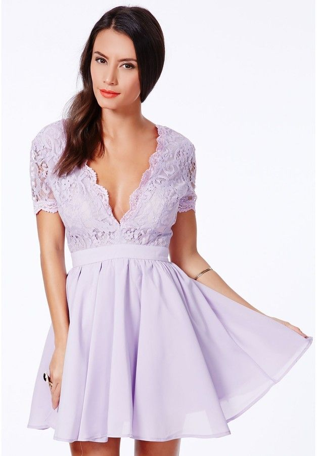 77647ba1bf4 Aleena Eyelash Lace Plunge Neck Puffball Mini Dress In Lilac Is on sale now  for -25 % !