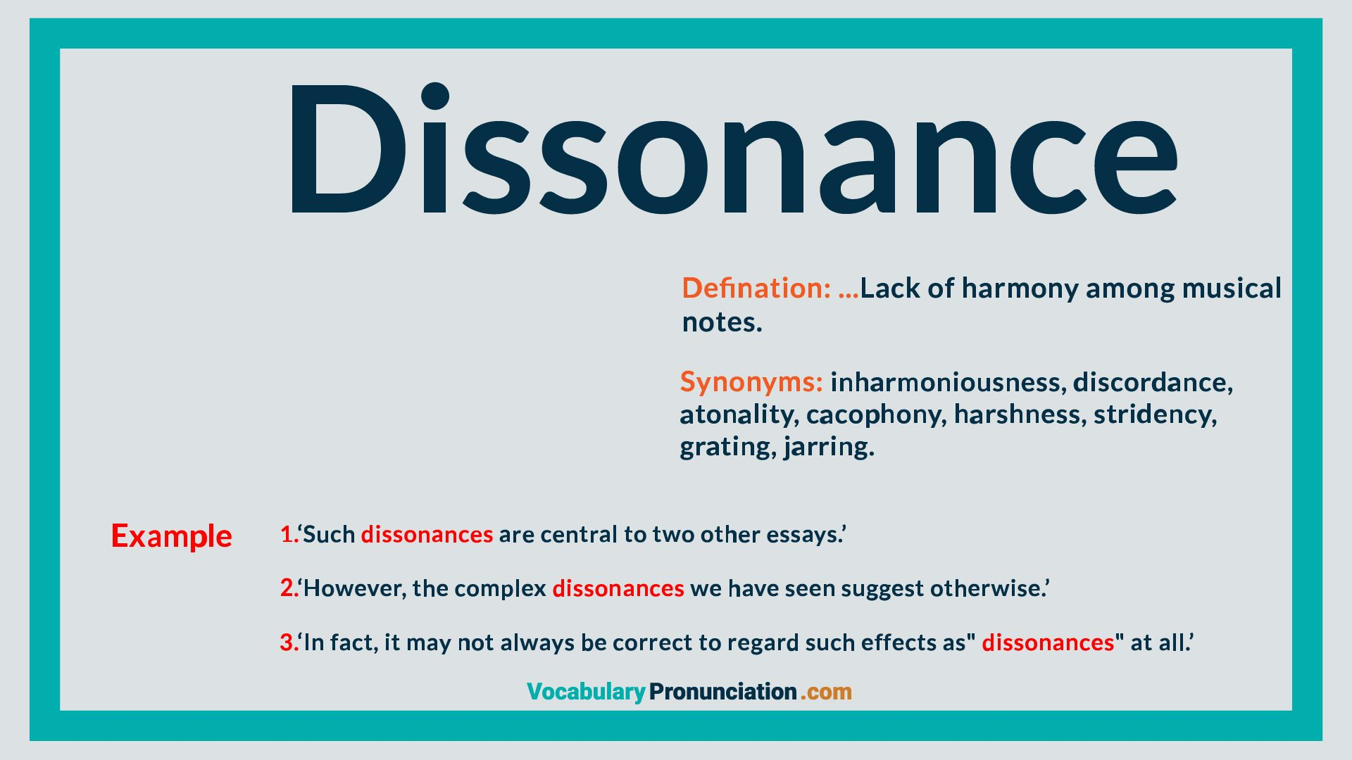 Dissonance  How to pronounce, English words, Essay