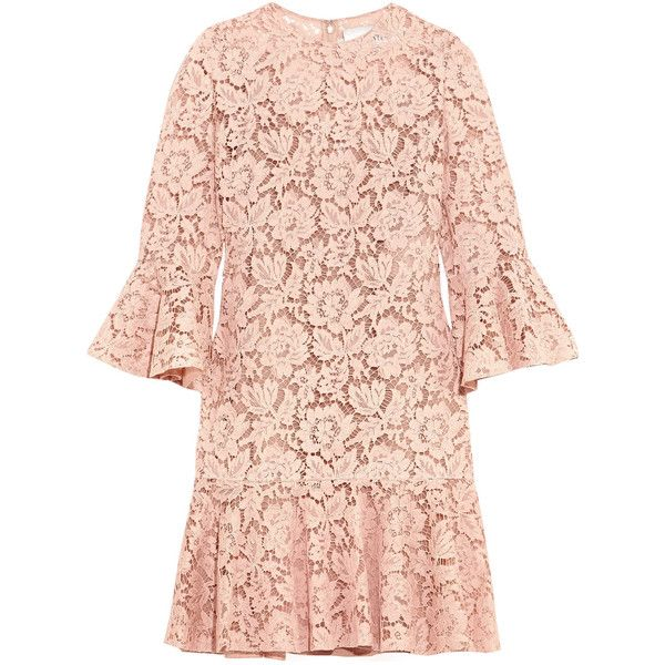 Valentino Ruffled corded cotton-blend guipure lace mini dress (8.500 BRL) ❤ liked on Polyvore featuring dresses, vestidos, lace slip, pink slip dress, ruffle hem dress, lace mini dress and lace dress
