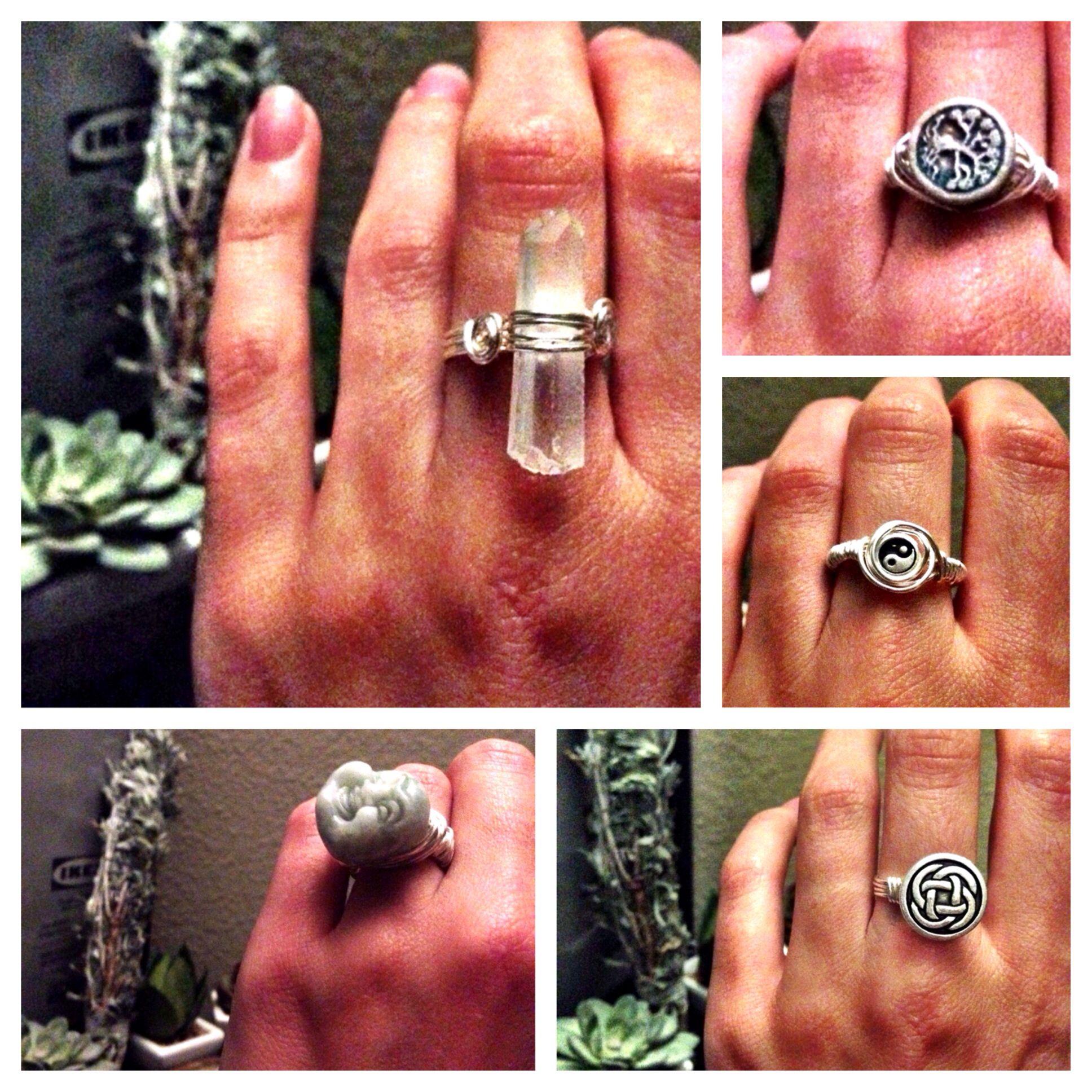 Ring making. Jade Buddha. Yin Yang. Tree of life. Quartz crystal. Celtic.