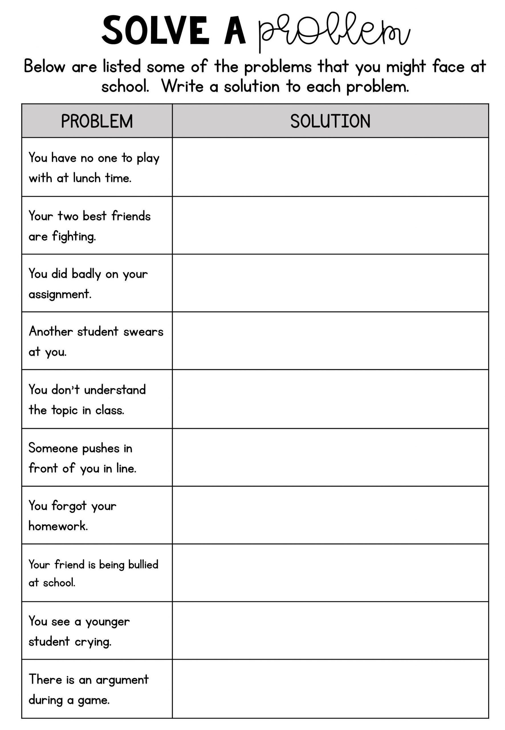 Problem And Solution Worksheet 4 No Prep Printable Social