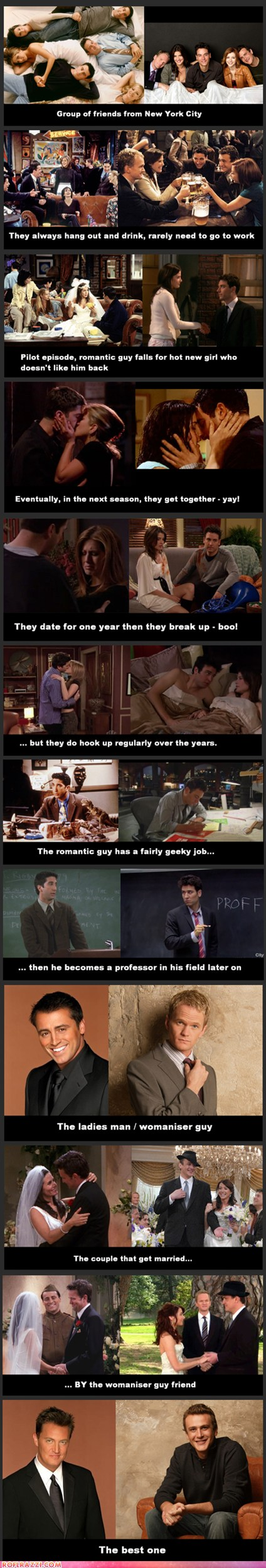 Friends vs How I Met Your Mother    Kinda awesome! But I don't agree with the most awesome of HIMYM. I love Barney the most! :D