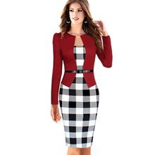 Women Casual Party Dress 2015 New Arrival Summer Style Belted Long Sleeve Patchwork Tunic Bodycon Pencil Dress Vestidos De Festa(China (Mainland))